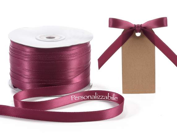 Satin ribbon roll mm 10 bordeaux personalized