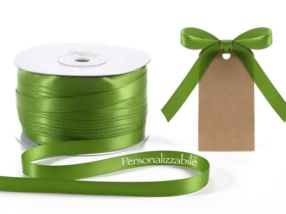 Satin ribbon roll mm 10 green garden personalized