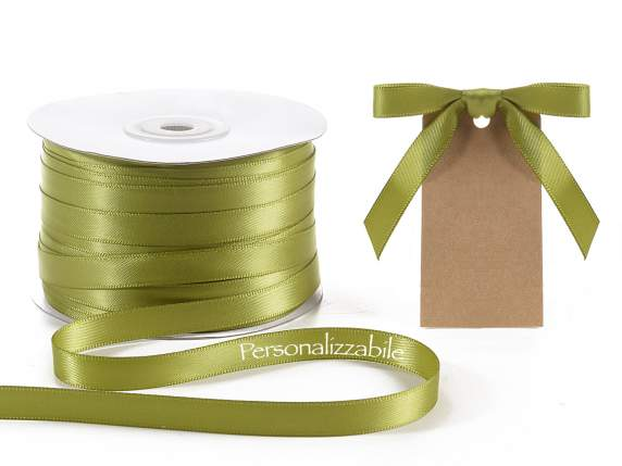 Satin double ribbon mm 10 olive green personalized