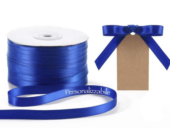 Satin ribbon roll mm 10 blue personalized