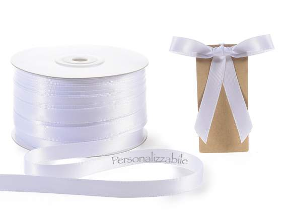 Satin ribbon roll mm 10 white personalized