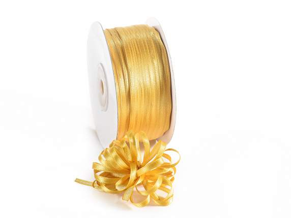 Satin ribbon roll Poly mm 3x100 mt gold