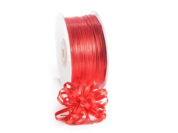 Satin ribbon roll Poly mm 3x100 mt strawberry red