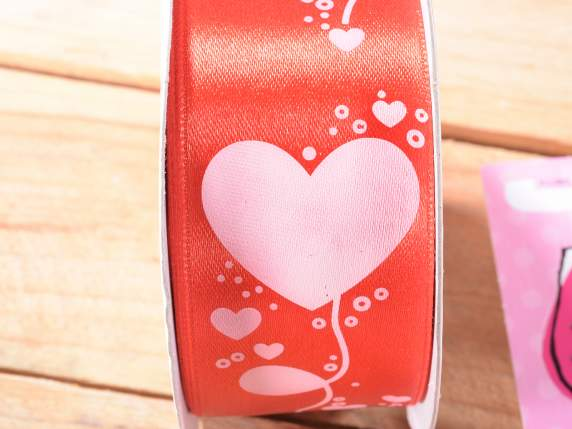Satin red ribbon heart c-print mm 40x25 mt