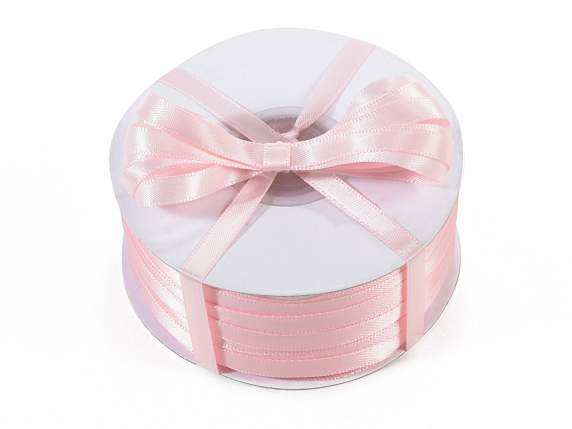 Satin ribbon roll Poly mm 6x100 mt baby light pink colour