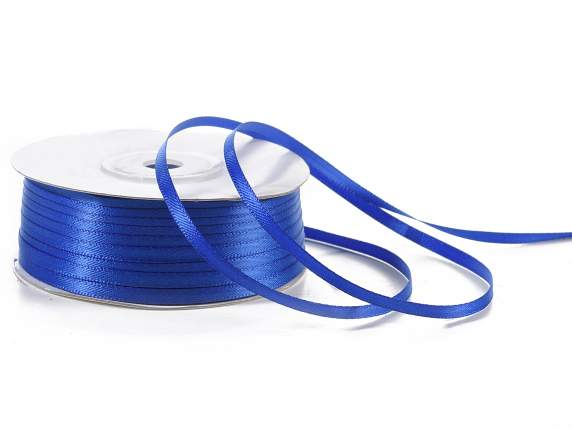 Satin ribbon roll Poly mm 3x100 mt royal blue colour
