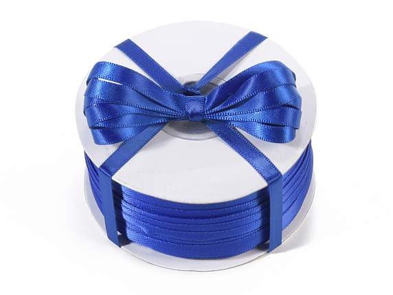 Satin ribbon roll Poly mm 6x100 mt royal blue colour