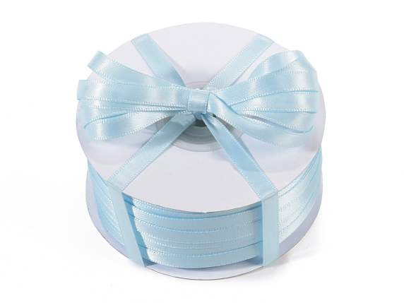 Satin ribbon roll Poly mm 6x100 mt baby light blue colour