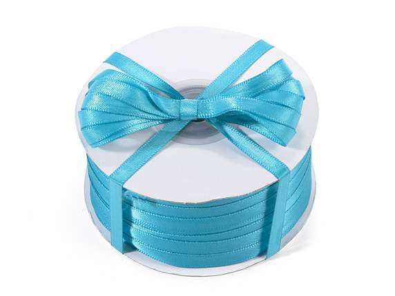 Satin ribbon roll Poly mm 6x100 mt peacock blue colour