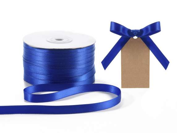 Satin ribbon roll Poly mm 10x100 mt royal blue colour