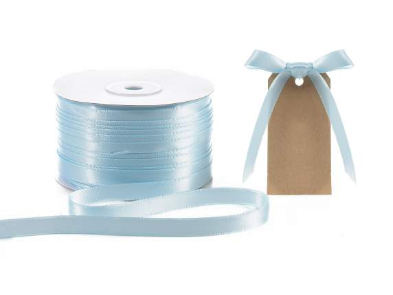 Satin ribbon roll Poly mm 10x100 mt baby light blue colour
