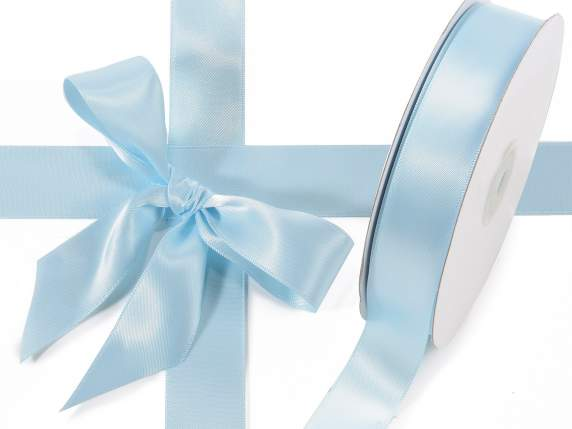 Satin ribbon roll Poly mm 25x50 mt baby light blue colour