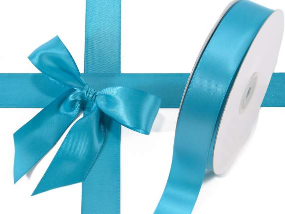 Satin ribbon roll Poly mm 25x50 mt peacock blue colour