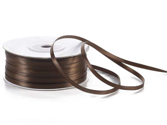 Satin ribbon roll Poly mm 3x100 mt chocolate brown colour