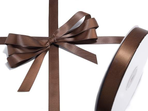 Satin ribbon roll Poly mm 15x50 mt chocolate brown colour