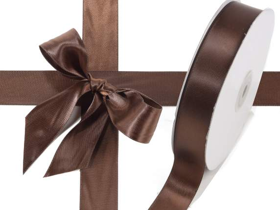 Satin ribbon roll Poly mm 25x50 mt chocolate brown colour