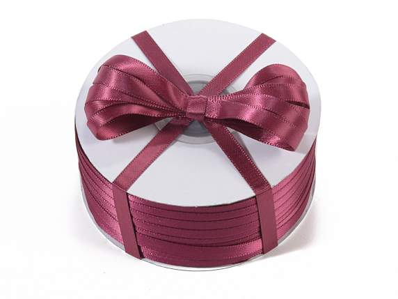 Satin ribbon roll Poly mm 6x100 mt burgundy colour