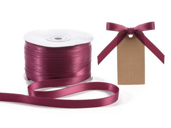 Satin ribbon roll Poly mm 10x100 mt burgundy colour