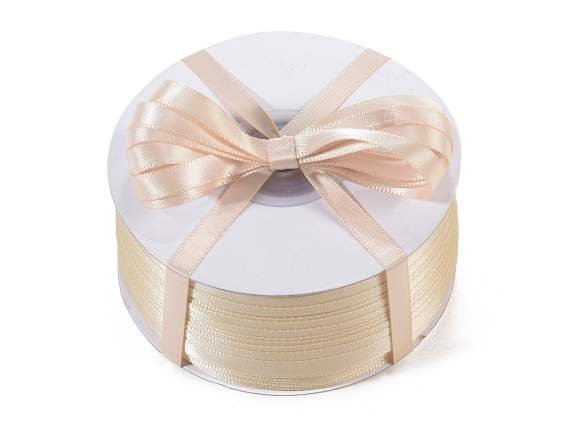 Satin ribbon roll Poly mm 6x100 mt ecru colour