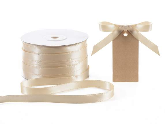 Satin ribbon roll Poly mm 10x100 mt ecru colour