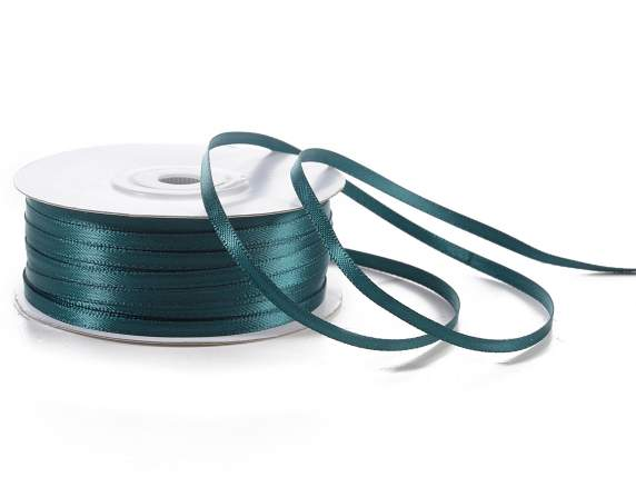 Satin ribbon roll Poly mm 3x100 mt emerald green colour