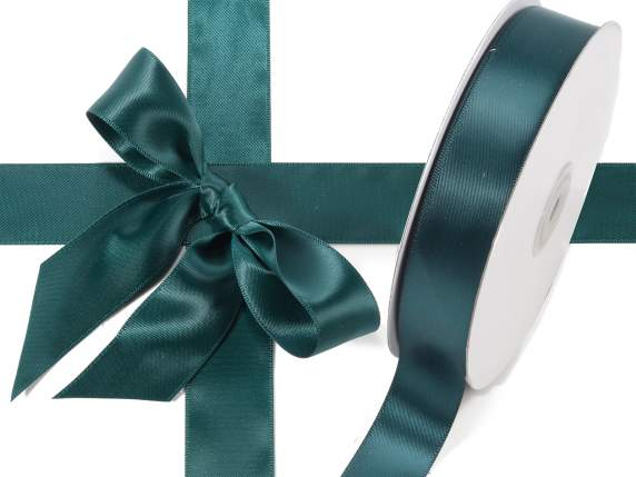 Satin ribbon roll Poly mm 25x50 mt emerald colour