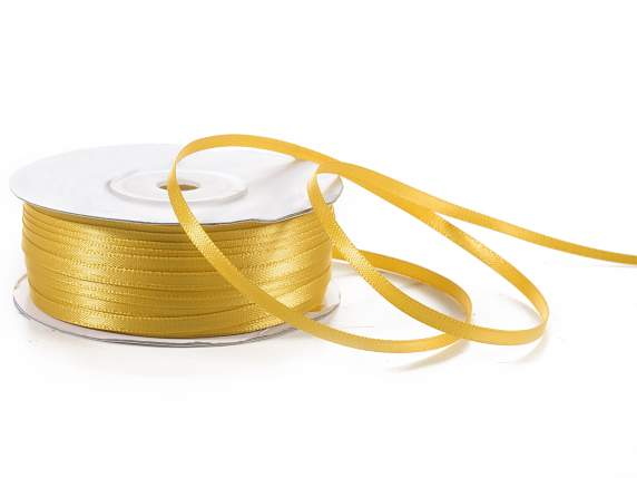 Satin ribbon roll Poly mm 3x100 mt gold colour