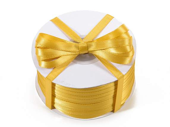 Satin ribbon roll Poly mm 6x100 mt gold colour