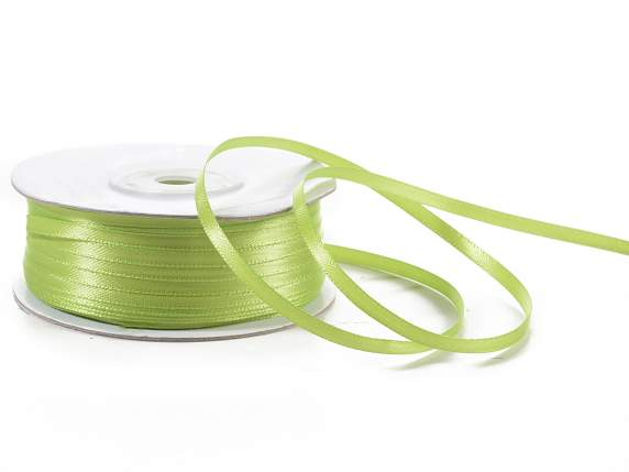Satin ribbon roll Poly mm 3x100 mt green apple colour