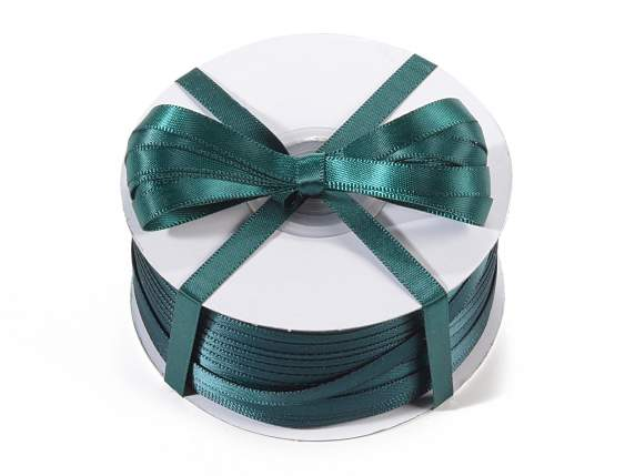 Satin ribbon roll Poly mm 6x100 mt emerald green colour