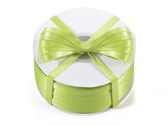 Satin ribbon roll Poly mm 6x100 mt green apple colour