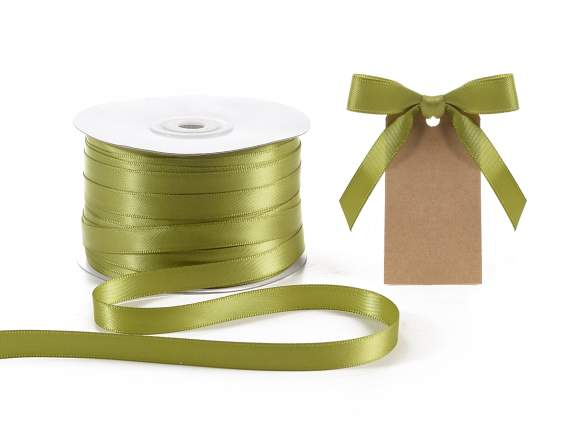 Satin ribbon roll Poly mm 10x100 mt olive green colour
