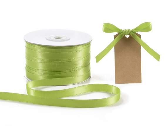 Satin ribbon roll Poly mm 10x100 mt green apple colour