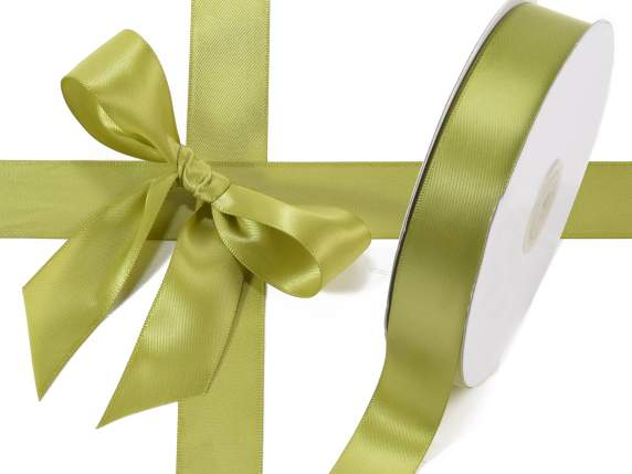 Satin ribbon roll Poly mm 25x50 mt olive green colour