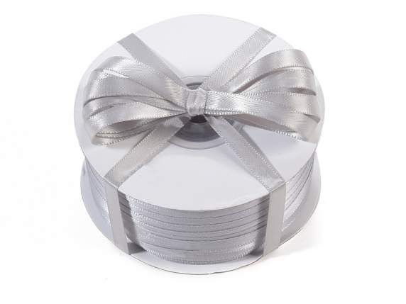 Satin ribbon roll Poly mm 6x100 mt silver grey colour