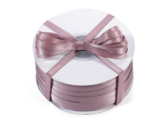 Satin ribbon roll Poly mm 6x100 mt dove grey colour