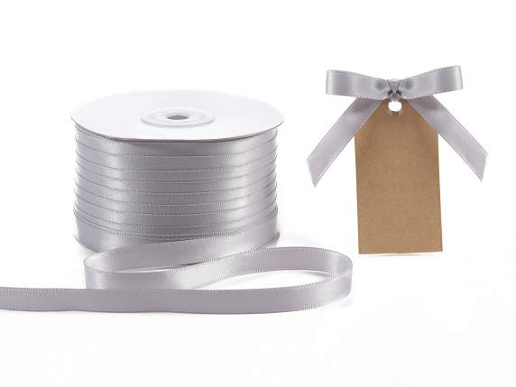 Satin ribbon roll Poly mm 10x100 mt silver grey colour