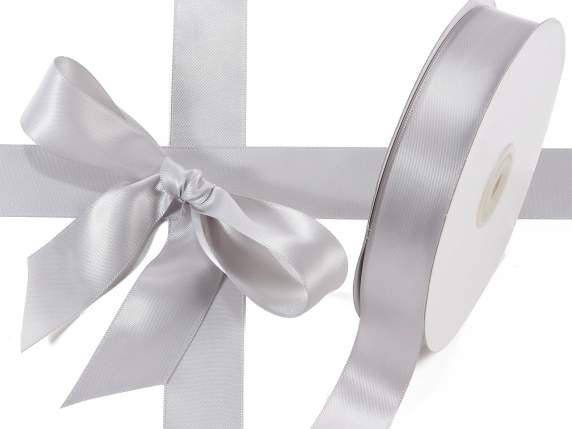Satin ribbon roll Poly mm 25x50 mt silver grey colour