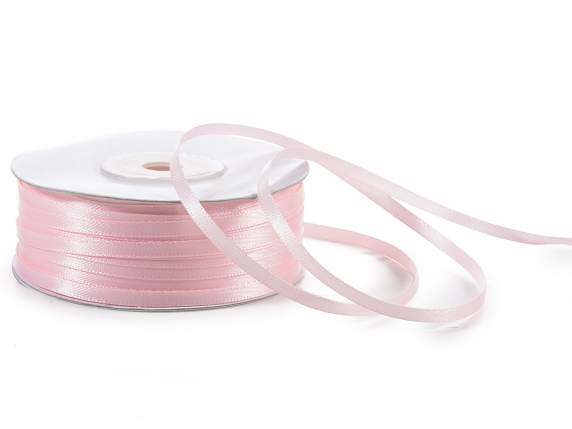 Satin ribbon roll Poly mm 3x100 mt baby light pink colour