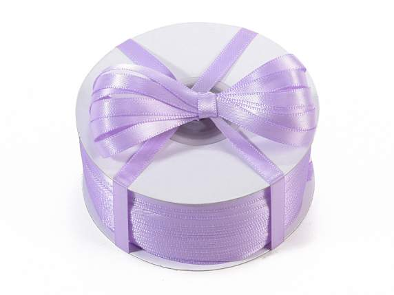 Satin ribbon roll Poly mm 6x100 mt lilac colour