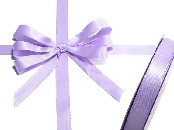 Satin ribbon roll Poly mm 15x50 mt lilac colour