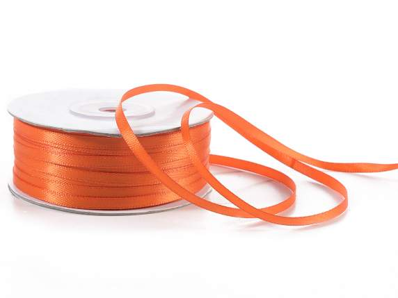 Satin ribbon roll Poly mm 3x100 mt orange colour