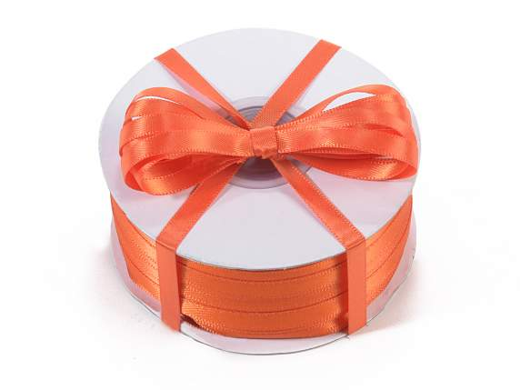 Satin ribbon roll Poly mm 6x100 mt orange colour