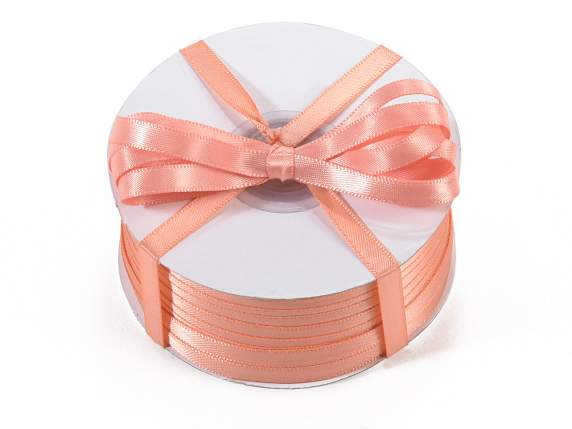 Satin ribbon roll Poly mm 6x100 mt salmon pink colour
