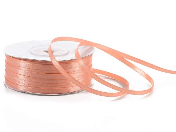Satin ribbon roll Poly mm 3x100 mt salmon pink colour