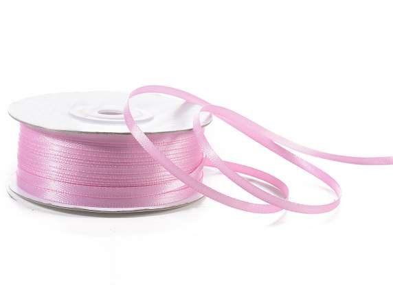 Satin ribbon roll Poly mm 3x100 mt ancient pink colour