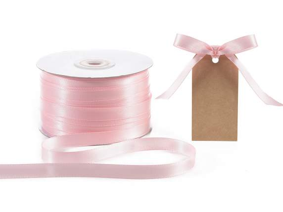 Satin ribbon roll Poly mm 10x100 mt baby light pink colour