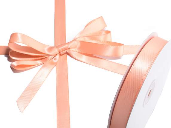 Satin ribbon roll Poly mm 15x50 mt salmon colour