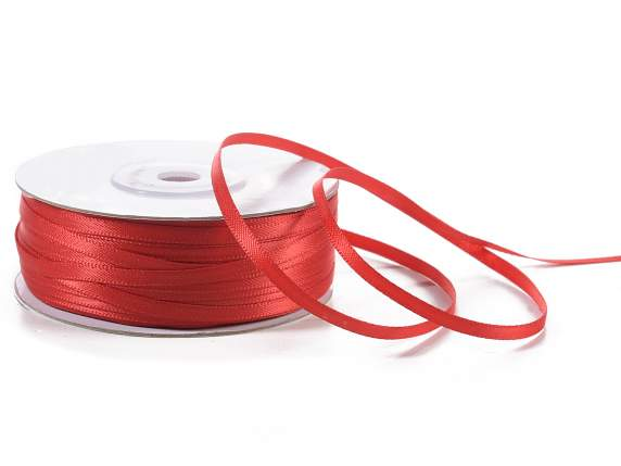 Satin ribbon roll Poly mm 3x100 mt red colour