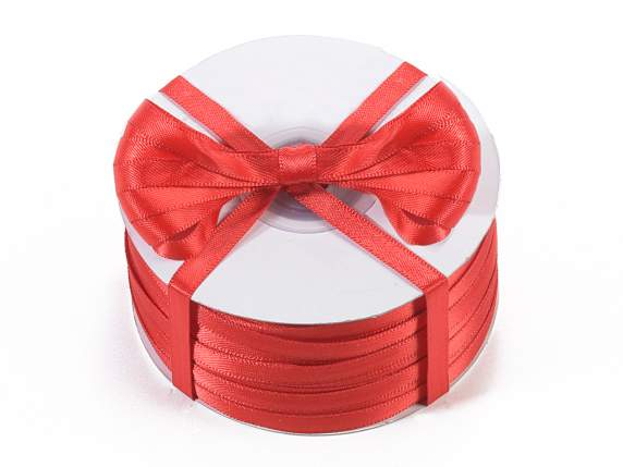 Satin ribbon roll Poly mm 6x100 mt red colour